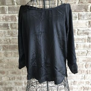 Fun & Flirt Black Hi Low Top Blouse Roll Sleeve